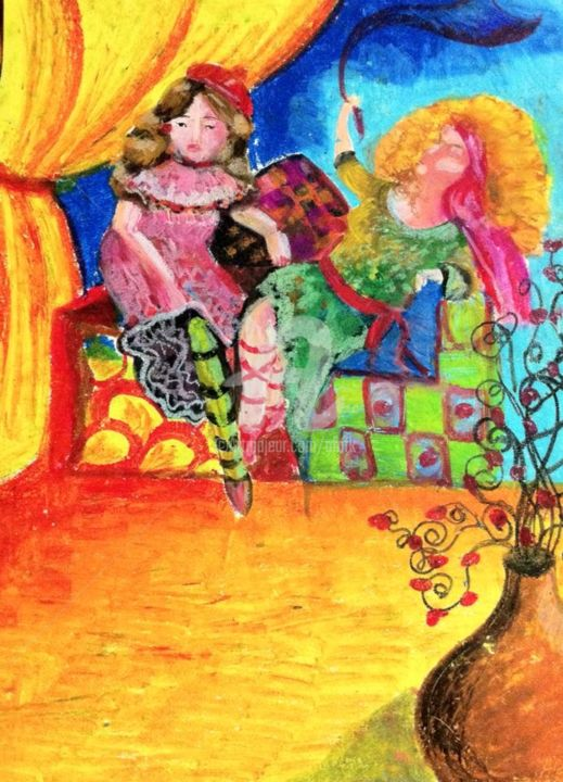"""Painting titled """"The Gypsies"""" by Afaf, Original Art, Pastel Mounted on Stretcher frame"""