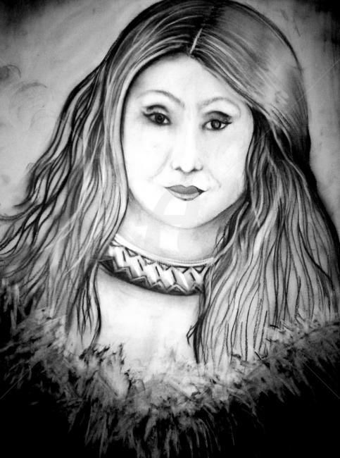 """Drawing titled """"Woman Prortrait"""" by Afaf, Original Art, Charcoal"""