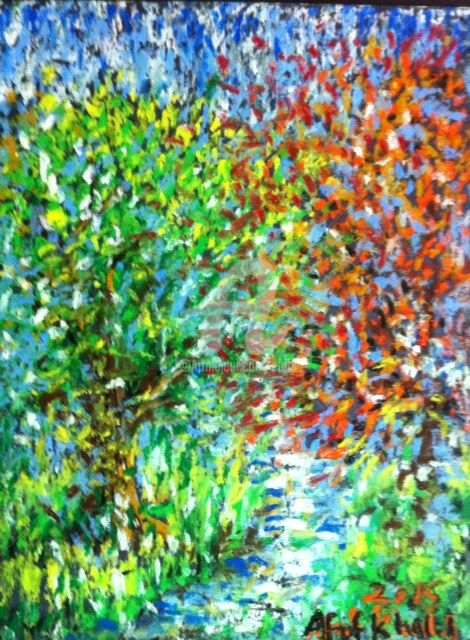 Photons of Spring - Drawing,  16x12 in ©2015 by Afaf -                                                                                                                                    Expressionism, Surrealism, Other, Colors, Landscape, Patterns, Seascape, Seasons, Water, spring, nature, trees, landscape