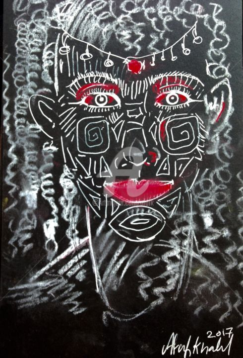 African symbol - Painting,  9x6 in ©2017 by Afaf -                                        Abstract Expressionism, Symbolism, Africa, woman, symbol