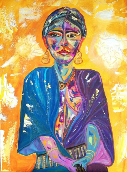 img-20190703-122630.jpg - Painting,  27.6x19.7x0.8 in, ©2019 by Elle Sun -                                                                                                                                                                                                                                                                                                                                                                                                                                                                                                                                                                                                                                      Expressionism, expressionism-591, Celebrity, Performing Arts, Erotic, Colors, Women, art, color, frida, Artwork, Woman, mexican