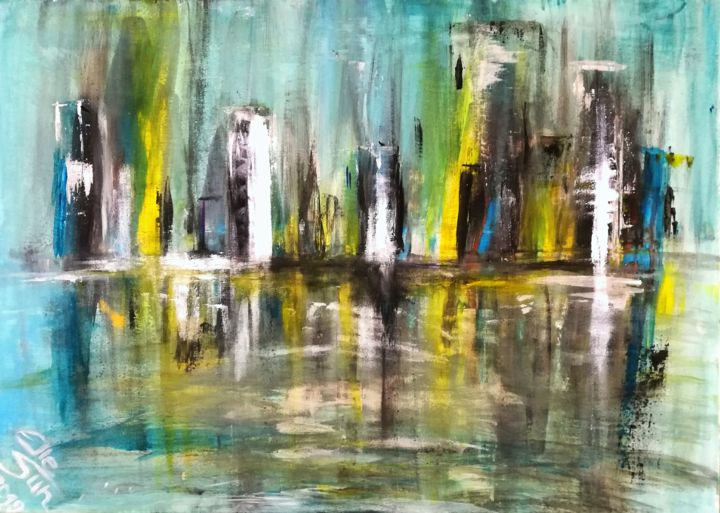 City - Painting,  19.7x27.6x0.8 in, ©2019 by Elle Sun -                                                                                                                                                                                                                                                                                                                                                                                                                                                                                                                                                                                          Abstract, abstract-570, Architecture, Performing Arts, Colors, New York, Los Angeles, City, colorfulart, Abstract, Art, Artwork