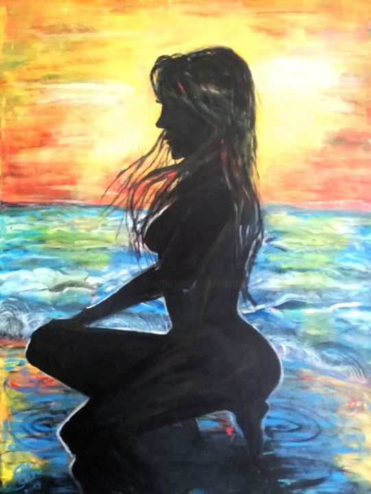 Beach - Painting,  31.5x23.6 in, ©2019 by Elle Sun -                                                                                                                                                                                                                                                                                                                                                                                                                                                                                                                                                                                                                                                                                  Expressionism, expressionism-591, Nude, Performing Arts, Erotic, Colors, art, colorful, arte, Artwork, nude, Act, Akt, erotic