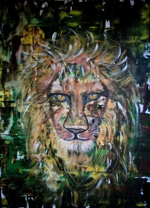 The Lion don't sleep tonight - Painting,  31.5x23.6x0.8 in, ©2019 by Elle Sun -                                                                                                                                                                                                                                                                                                                                                                                                                                                                                                                                                                                                                                  Pop Art, pop-art-615, art, contemporay, Artwork, lion, löwe, Animal, modern, color, colorfulart, modernart, Abstract