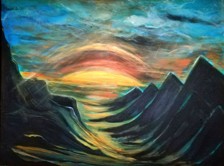 Mountains - Painting,  23.6x31.5x1 in, ©2019 by Elle Sun -                                                                                                                                                                                                                                                                                                                                                                                                                                                      Expressionism, expressionism-591, Mountainscape, Landscape, Landscape, Mountain, color, Art, sunrise