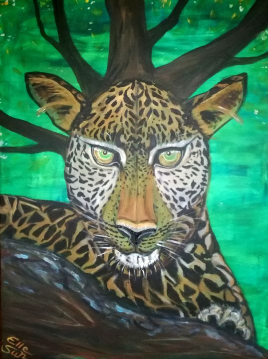 Leo Nardo - Painting,  31.5x23.6x1 in, ©2019 by Elle Sun -                                                                                                                                                                                                                                                                                                                                                                                                                                                                                                                                                                                                                                      Expressionism, expressionism-591, Landscape, Animals, Leonardo, di Caprio, Leopard, Artwork, Expressionismus, Kunst, Arte, Colorfulart, spezies protection