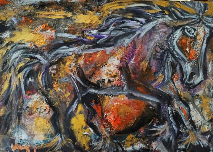 """Painting titled """"Cheval"""" by Elle Sun, Original Art, Acrylic Mounted on Stretcher frame"""