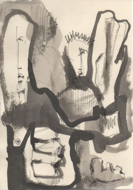 Esquissos.4 - Drawing,  8.3x5.5 in, ©2020 by Afonso Costa -                                                                                                                                                                                                                                                                                                                                                                                                                                                                                                                                                                                                                                                                                  Figurative, figurative-594, Rural life, Performing Arts, History, Nature, People, art, abstract, modern, contemporary, expressionism, tribal, drawing