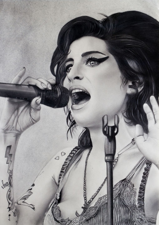 Amy Winehouse Drawing By Anais Forterre Artmajeur