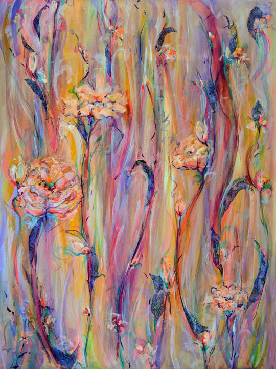 """Painting titled """"BurningBeauty"""" by Afsaneh Vollmer, Original Art, Acrylic"""