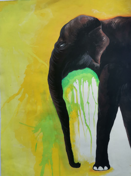 """Painting titled """"Elephant Painting…"""" by Agasthi Wijesinghe, Original Art, Watercolor"""