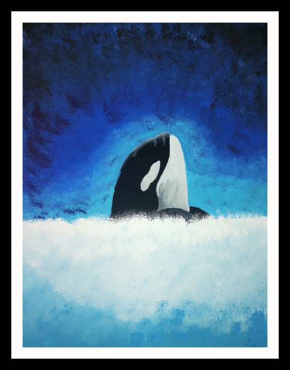 """Painting titled """"orca painting Water…"""" by Agasthi Wijesinghe, Original Art, Watercolor"""