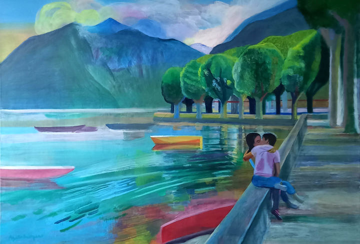 """Painting titled """"Harbor of dreams (3)"""" by Agata Baltyzar, Original Art, Oil"""