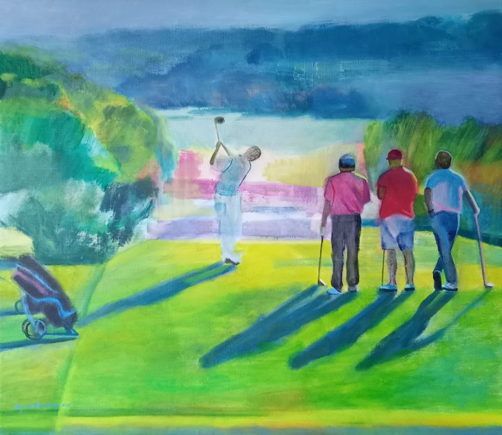 """Painting titled """"The Golfing Holiday"""" by Agata Baltyzar, Original Art, Oil"""
