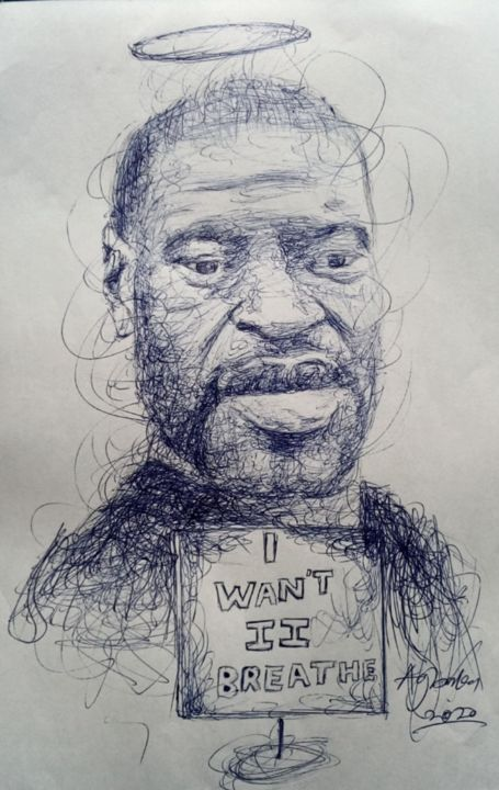 """Drawing titled """"The return of Georg…"""" by Oryiman Agbaka, Original Art, Ballpoint pen"""