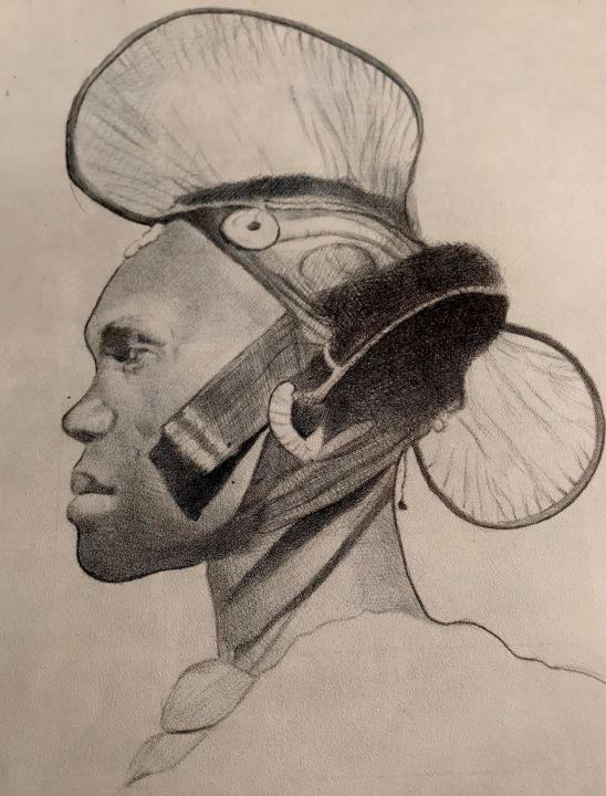 """Drawing titled """"Leave my Afro"""" by Oryiman Agbaka, Original Art, Ballpoint pen"""