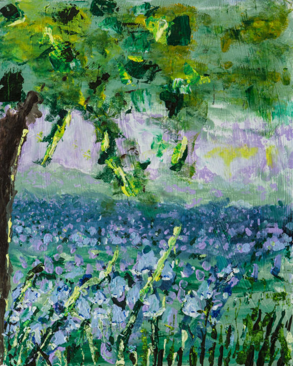 bluebells-and-waterfalls.jpg - Painting ©2014 by Terri -                                                            Impressionism, Other, Landscape, waterfall