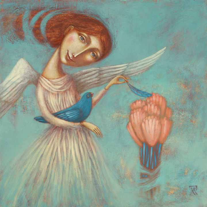 """Painting titled """"Touched by an Angel"""" by Kelemen Ágnes, Original Art, Acrylic"""