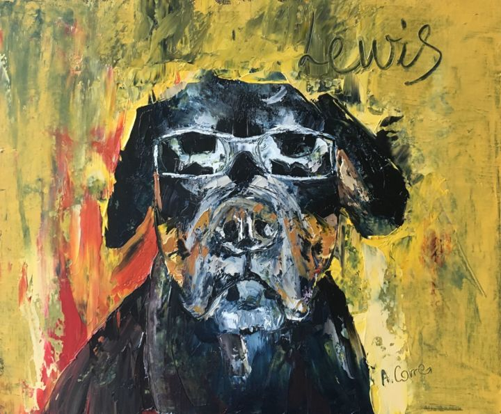 lewis.jpg - Painting,  40x50 cm ©2019 by AGNES CORRE -                                                            Street Art (Urban Art), Canvas, Animals, LEWIS, chien, animaux, street art