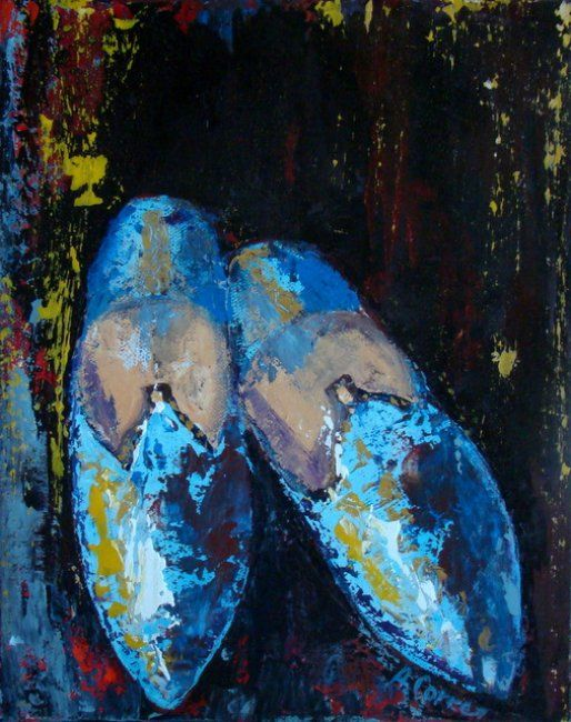 Babouches bleues - Painting,  11.8x9.1 in, ©2012 by AGNES CORRE -                                                              babouches marocaines