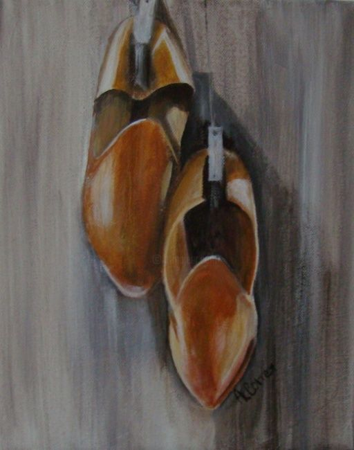 Babouches marocaines - Painting,  30x23 cm ©2012 by AGNES CORRE -                            Contemporary painting, babouches marocaines, maroc, magreb