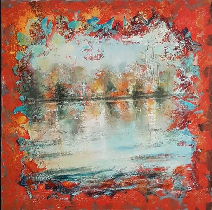 Ambiance hivernale - Painting,  39.4x39.4 in, ©2012 by AGNES CORRE -                                                                                                                                                      ambiance hivernale, reflets d'eau, lac