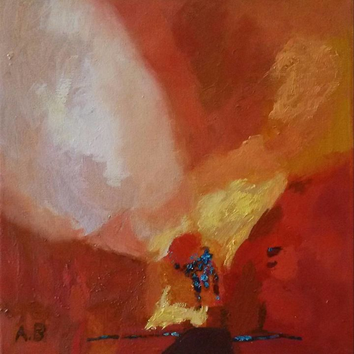 """Painting titled """"Nekad/ Never"""" by Agnese Brūvere-Alpe, Original Art, Acrylic Mounted on Stretcher frame"""