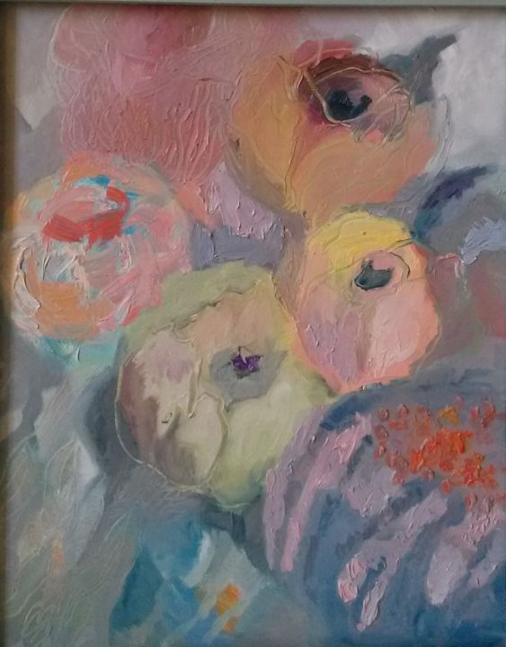 """Painting titled """"Peonies 2"""" by Agnese Brūvere-Alpe, Original Art, Oil Mounted on Stretcher frame"""