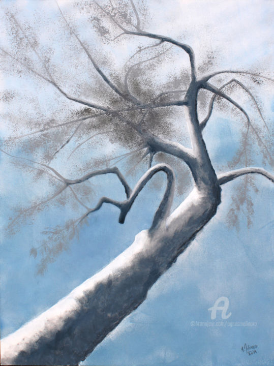 Variations autour d'un arbre - Arbre bleu - Painting,  80x60x2 cm ©2019 by Agnès MOLINARO -                                                                                                        Canvas, Tree, Colors, Garden, Light, Nature, Landscape, agnes molinaro, arbre, jardin, nature, paysage, bleu