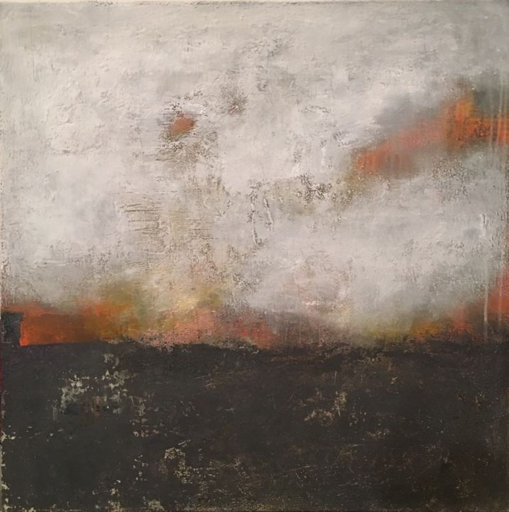 Remorse - Painting,  80x80x2 cm ©2015 by Agnieszka Ceccarelli -                                                                                                Minimalism, Abstract Art, Contemporary painting, Canvas, Cityscape, Abstract Art, black, white, orange, minimal