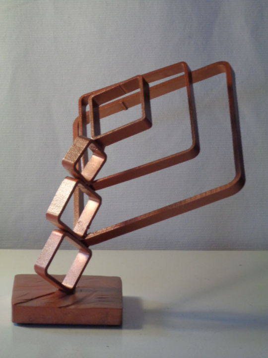 Tribus quadratis - Sculpture,  7.9x7.9x9.1 in, ©2018 by Agnieszka Rozek -                                                                                                                                                                                                                                                                      Abstract, abstract-570, Metal, Abstract Art, Geometric