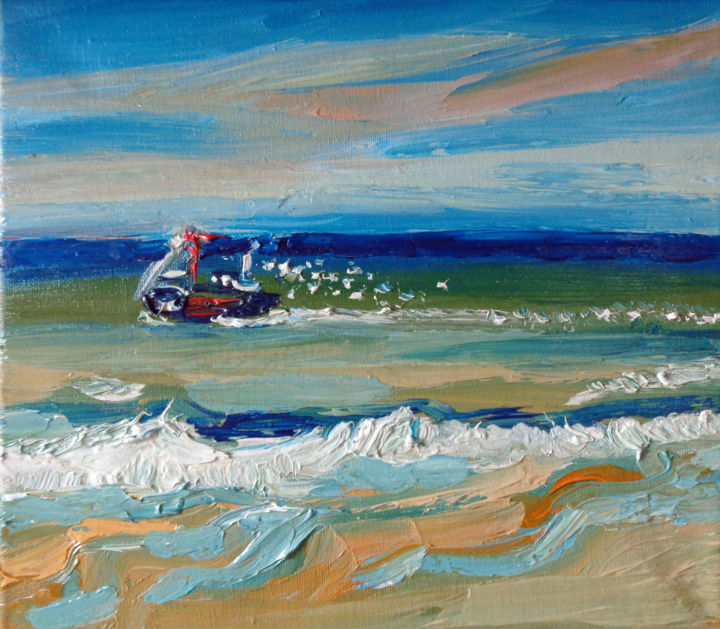 Ostende - Painting,  10.4x11.8x0.8 in, ©2016 by Agnieszka Rozek -                                                                                                                                                                                                                                                                                                                                                              Expressionism, expressionism-591, Boat, Water, Landscape, Seascape, paysage