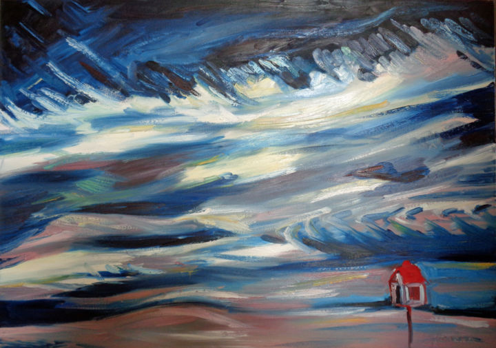 Vent du Nord 1 - Painting,  31.5x39.4x1.2 in, ©2013 by Agnieszka Rozek -                                                                                                                                                                                                                                                                                                              Expressionism, expressionism-591, Light, Nature, Landscape, Time