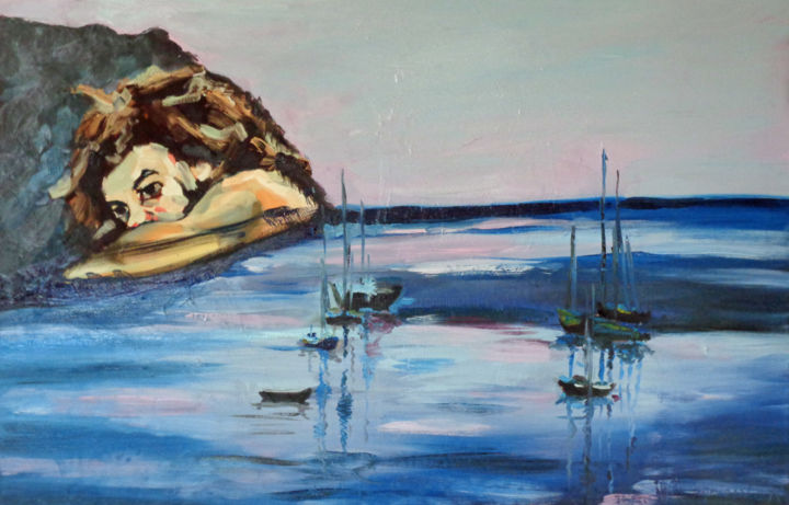 Villefranche - Painting,  29.5x45.3x1.2 in, ©2016 by Agnieszka Rozek -                                                                                                                                                                                                                                                                                                              Expressionism, expressionism-591, Water, Men, Seascape, Portraits