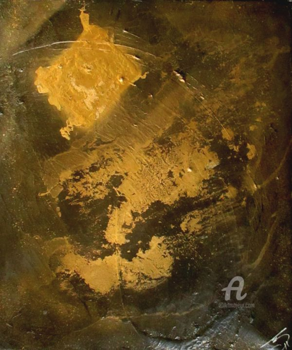 Gold - Pittura,  21,7x18,1x0,8 in, ©2015 da A Guerard -                                                                                                                                                                                                                                                                                                                                                                                                          Abstract, abstract-570, Uomini, Natura, or, homme, gold, nature