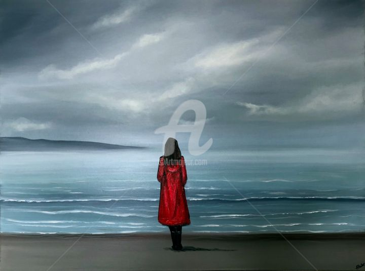 mesmerising-moments.jpg - Peinture,  76x102x4 cm ©2018 par Aisha Haider -                                                                        Art déco, Impressionnisme, Toile, Paysage, cloouds, clouds, sky, sea, red woman, red and grey