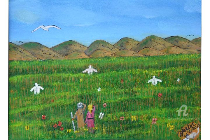 champs verdoyant pg - Painting,  12.6x9.5 in ©2017 by Ahmed FERTAT -                                        Naive Art, Rural life