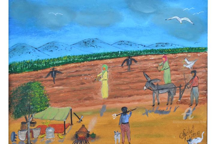 on cultive notre champs - Painting,  12.6x9.5 in ©2017 by Ahmed FERTAT -                                        Naive Art, Rural life