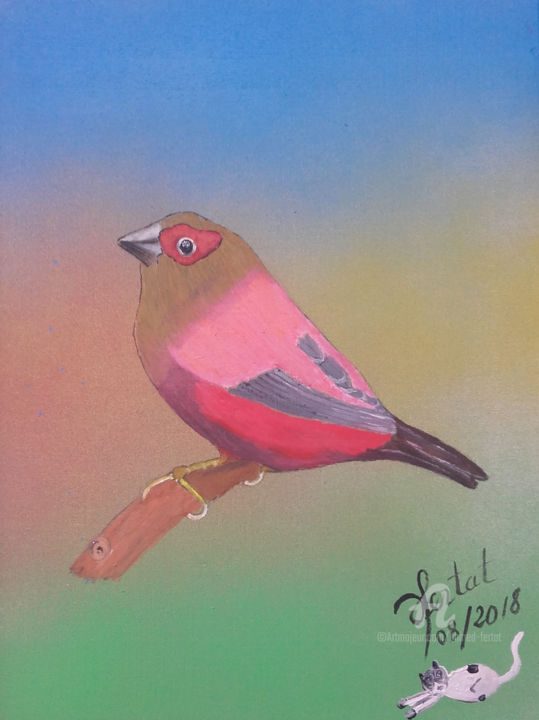 oiseau exotique.jpg - Painting,  12.6x9.5 in ©2018 by Ahmed FERTAT -                                        Naive Art, Animals
