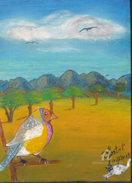 le-solitaire.jpg - Painting,  12.6x9.5 in ©2018 by Ahmed FERTAT -                                            Naive Art, Animals, oiseaux