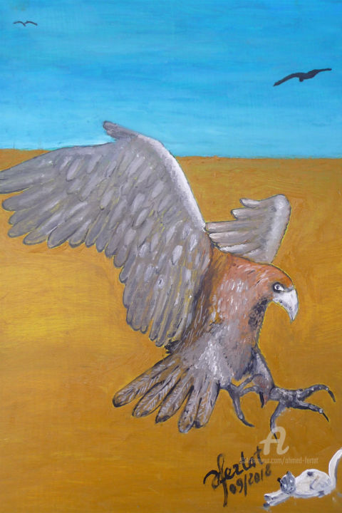 aigle-1.jpg - Painting,  12.6x9.5 in ©2018 by Ahmed FERTAT -                                        Naive Art, Animals