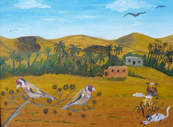 libres-oisillons.jpg - Painting,  12.6x9.5 in ©2018 by Ahmed FERTAT -                                            Naive Art, Animals, monde des oiseaux