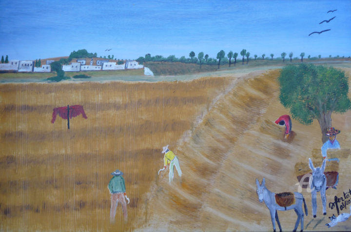 la-moisson.jpg - Painting,  15.8x23.6 in ©2019 by Ahmed FERTAT -                                            Naive Art, Agriculture, travaux des champs