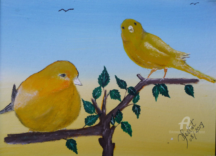 couple-canaris - Painting,  9.5x12.6x0.4 in ©2019 by Ahmed FERTAT -                                            Naive Art, Birds, le monde des oiseaux