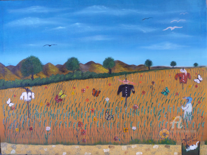 champs-fleuri.jpg - Painting,  23.6x31.5x0.8 in ©2016 by Ahmed FERTAT -                                            Naive Art, Rural life, vie rurale, champs, blé