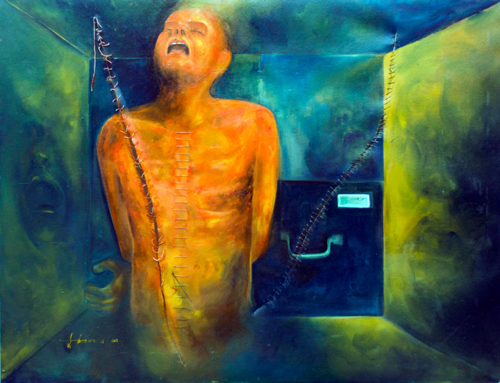 """Painting titled """"pain"""" by Ahsan Mowdud, Original Art, Oil"""
