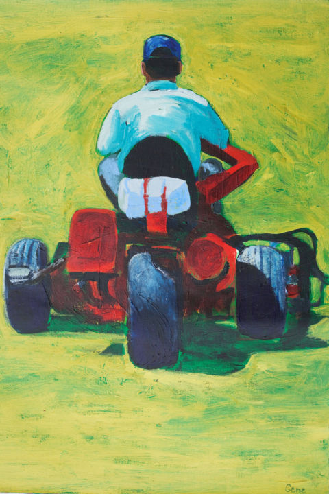 """Painting titled """"Lawn Mower"""" by Linda Armstrong, Original Art, Acrylic"""