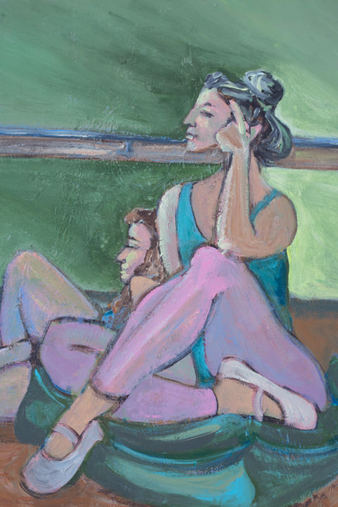"""Painting titled """"Dancers at Rest on…"""" by Linda Armstrong, Original Art, Acrylic"""