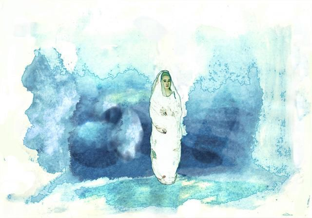 """Printmaking titled """"Blue Madonna in the…"""" by Aine Scannell, Original Art, Other"""