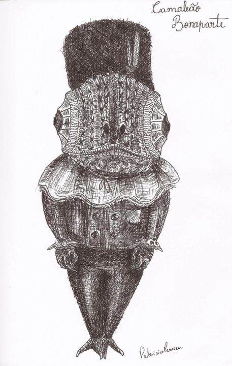 Chameleon Bonaparte - Drawing,  8.3x5.8 in ©2018 by Patricia Pereira -                                                                                                                                                Naive Art, Figurative Art, Illustration, Surrealism, Paper, Animals, Abstract Art, Celebrity, Pop Culture / celebrity, History, Art, Art Naive, Animal, Illustration, History, France, Comic